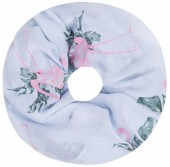 SC1801-009 Scarf with Glitters and Flamingo Col Light Blue