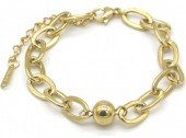A-A5.5 B014-006G S. Steel Chain Bracelet with Ball Gold