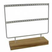 Y-A5.2 Wood with Metal Earring Display White 23x22x7cm