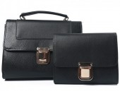 Y-B5.1 BAG419-001C PU Bag Set Snake 2pcs 26.5x19x8.5cm Black