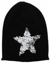L-D1.1 Beanie with Star and Sequins Black