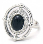 A-E4.3 R532-001S Adjustable Ring with Black Stone Silver