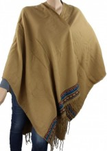 T-B4.1 Soft Poncho with Aztek Print Brown