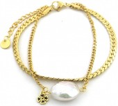 A-A19.4 B014-022G S. Steel Layered Bracelet Freshwater Pearl Gold
