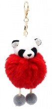 S-D5.5  KY2035-017F Keychain Fluffy Panda with Crystals 12x6cm Red