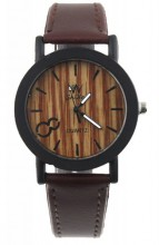 E-E4.3 Wood Look Watch with PU Strap Brown 30MM