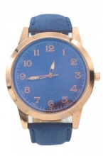 WA204-001 Quartz Watch with PU Strap Rose Gold-Blue