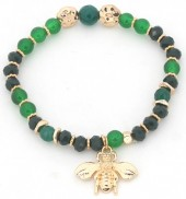 B-C3.3 B130-010 Elastic Bracelet with Bee Charm Green