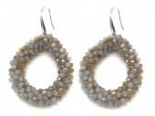 B-F2.1 E007-001 Facet Glass Beads 4.5x3.5cm Shiny Grey