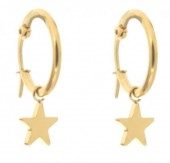E015-012A Stainless Steel Earrings 16mm with Star Gold