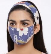 R-H7.2 Set Face Mask with Headband - Washable - Flower- Blue