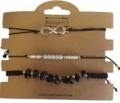 A-F6.3  B019-051 Bracelet Set 3pcs with Stones-Pearls-Infinity Black