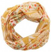 T-F6.1 Loop Scarf with Animal Print and Flowers Yellow