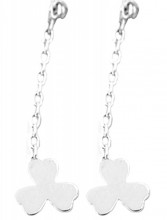 E-D19.5 SE104-262 925S Silver Earrings Pull Through with 6mm Clover