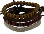 D-B4.5  E032-005 Unisex Bracelet Set Rope-Wood-Leather