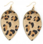 A-F18.2  E006-003 Leather Earrings with Animal Print Brown