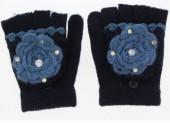 J-E6.2 Kids Gloves with Flower Blue