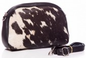 T-C1.2 BAG-870 Leather Bag with Mixed Color Cowhide 27x17x8cm Black
