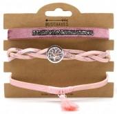 B1202-208 3pcs PU Bracelet Set with Tree of Life Pink