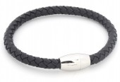 B105-004 Leather Bracelet with Stainless Steel Lock 19cm Black
