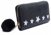Q-P6.1 WA009-004F Wallet with Glitter Stars and Pompon 19x10cm Black