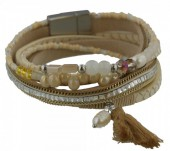 B-D2.8 Wrap Bracelet PU with Glass Bead -Fresh Water Pearl and Tassel