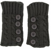 L-D7.2 Knitted Hand Wamers with Buttons Grey