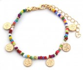 A-D22.3 B2039-018D Bracelet with Glass Beads and Coins Multi