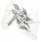 X-J4.2 S004-007 Scarf with Large Feathers 180x70cm White