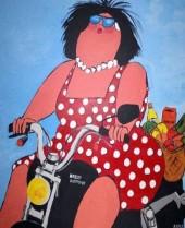 R-C6.2 S354 Diamond Painting Set Lady on Bike 50x40cm