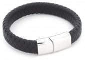 F-F4.1 B105-003 Leather Bracelet with Stainless Steel Lock 19cm Black