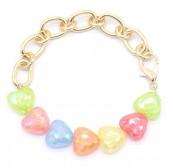 C-E3.4 B1561-023 Bracelet Hearts - Gold Multi Color