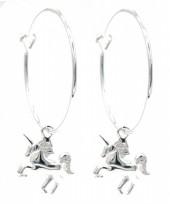 A-F223.  SE104-473 925S Silver Earrings Unicorn 20x42mm