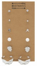 F-C18.2 E426-019 Earring Set 6pcs Silver