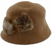 S-I7.4  Woolen Hat with Fake Fur Pompons Brown