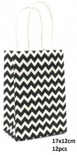 Q-O8.1 PK525-005A Paper Giftbag Zigzag 17x12cm Black-White 12pcs