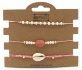B019-002 Bracelet set 3pcs with Stone and Shell Pink