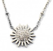 D-A16.1 N2020-008S S. Steel Necklace 15mm Flower Crystals Silver