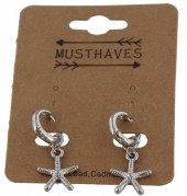 C-F4.1 E304-013 Metal Earrings with Starfish 2.5x1cm Silver