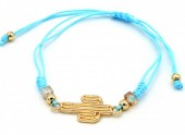 A-A6.2 B221-007 Rope Bracelet with Cactus Blue