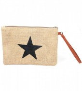 T-A6.3 BAG324-001 Jute Clutch with Star Black