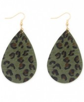 E006-003 Leather Earrings with Animal Print 7x4 cm Green