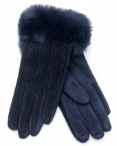 R-M6.1 GLOVE403-069E Gloves Rib Fabric and Faux Fur Blue