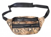 X-I2.1 BAG120-006 Trendy Waist Bag with Snakeskin Print Brown