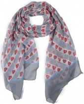 X-C3.2 SCARF507-003B Scarf with Hearts 180x90cm Grey