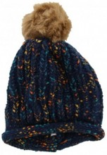 T-O2.1 Spotted Beanie with Fake Fur Pompon Blue
