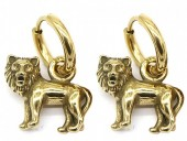 A-D20.3 E007-002G S. Steel 10mm Earring with 16mm Lion Gold