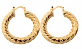 E-B3.1  E426-018 Twisted Earrings 40mm Gold