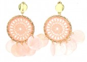 F-A17.1 E536-111B Earrings Woven with Shells 5.5x3cm Pink
