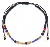 A-F9.3 B2036-013E Bracelet with Glass Beads Blue-Black-Gold